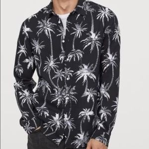 H&M palm tree collared long sleeve